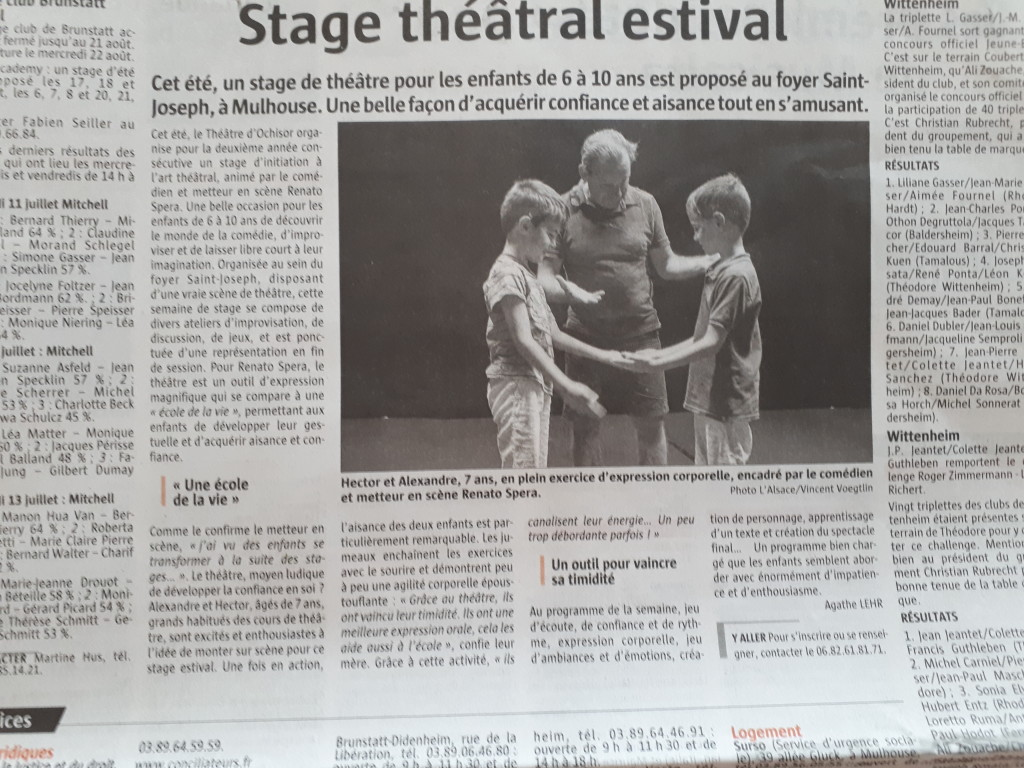 Article stages théâtre